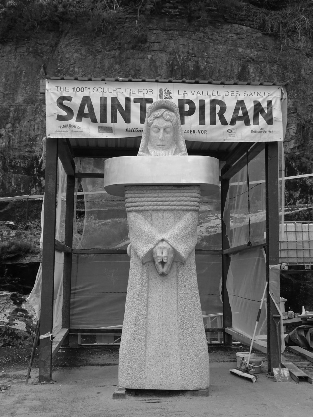 saint piran statue mabe, valley of the saints brittany